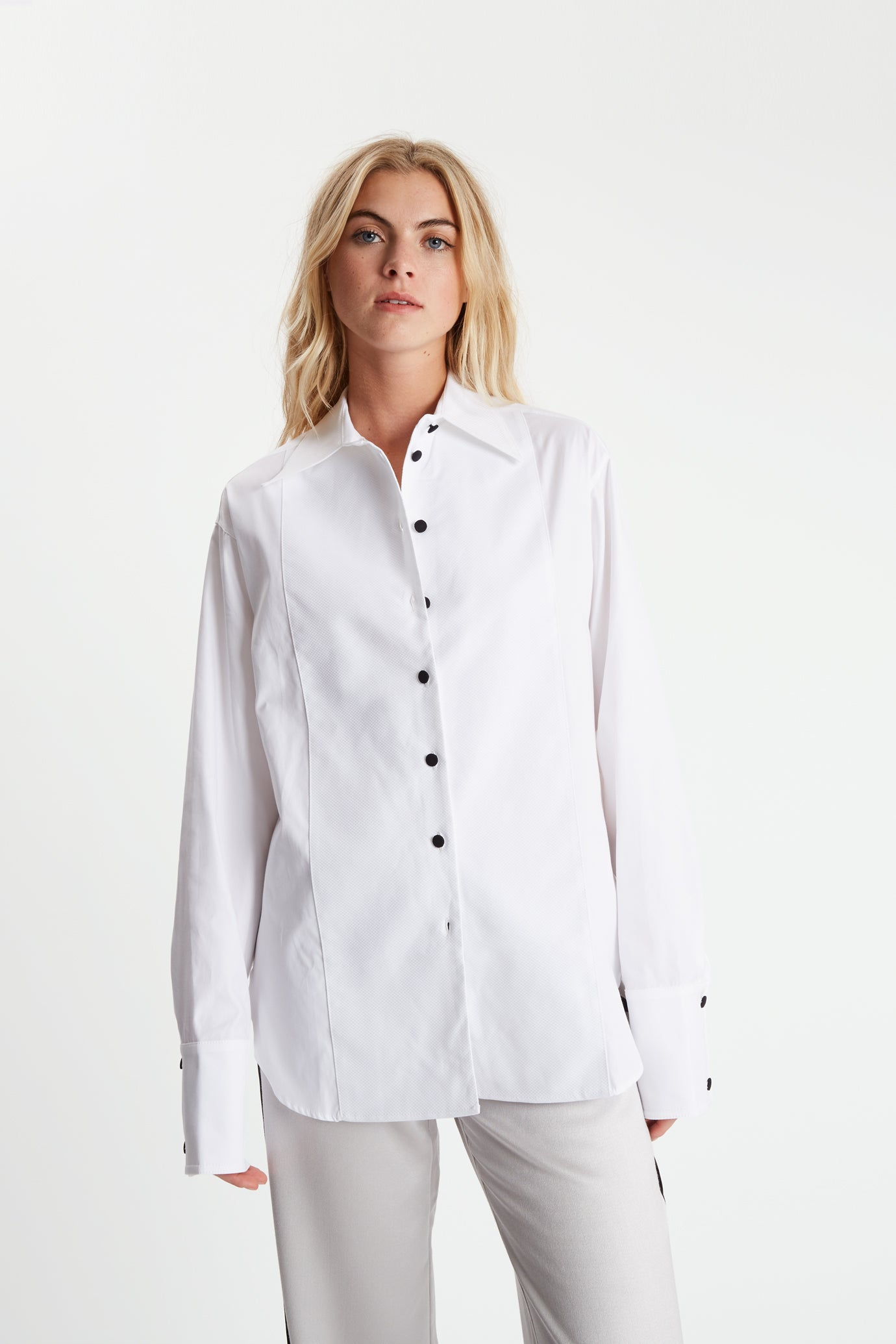 The Evening Shirt - White Cotton - SERENA BUTE