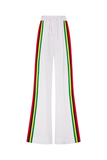 The Extra Wide Jogger - White & Rasta/Jamaican Silk - SERENA BUTE
