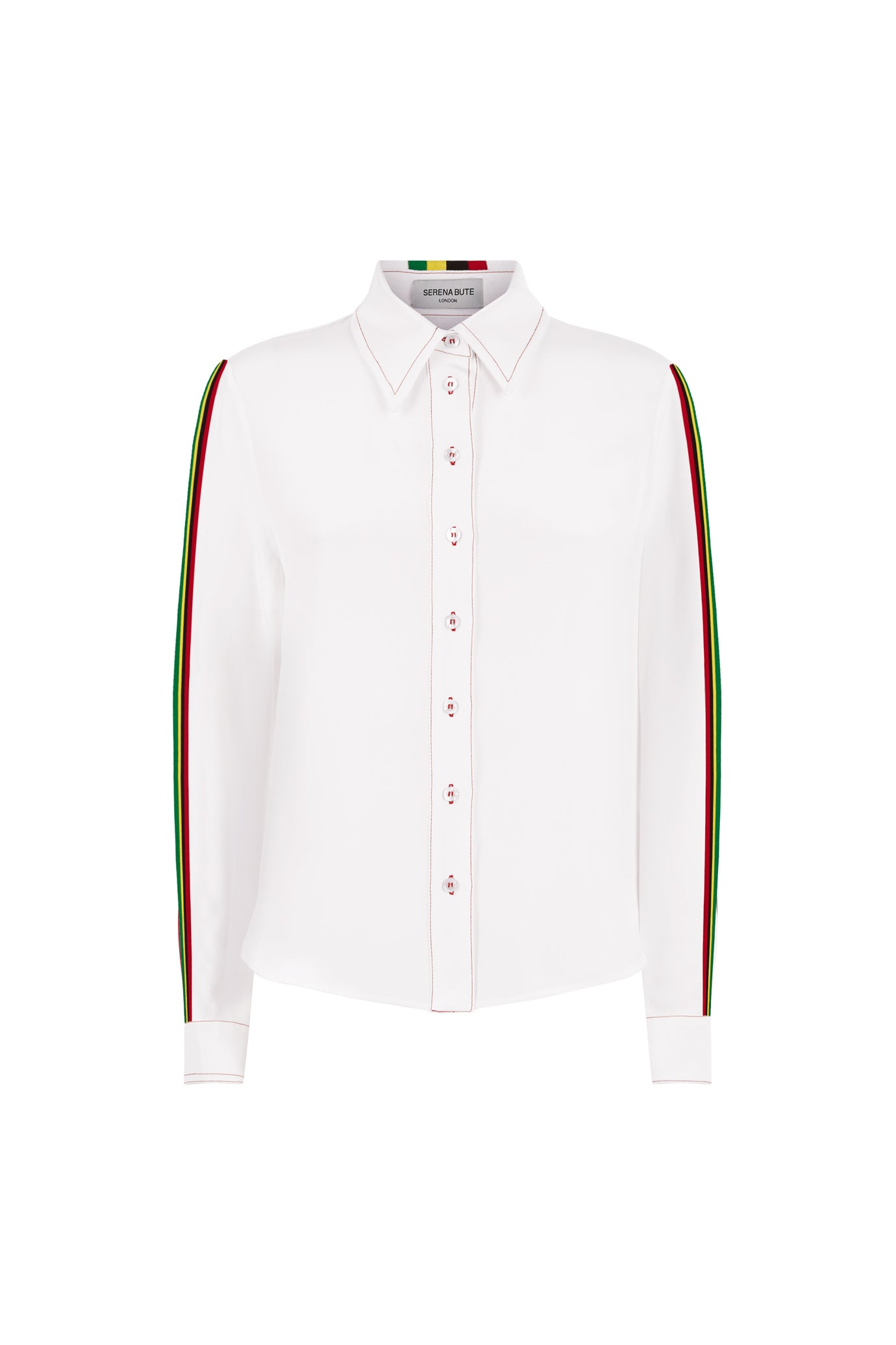 The Serena Shirt - White & Rasta/Jamaican - SERENA BUTE