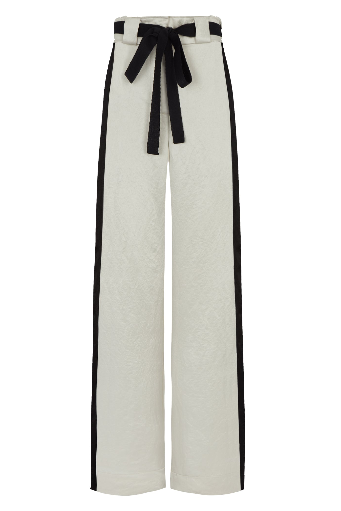 The Alice Straight Leg Trouser - Stone & Black Natural Fabric