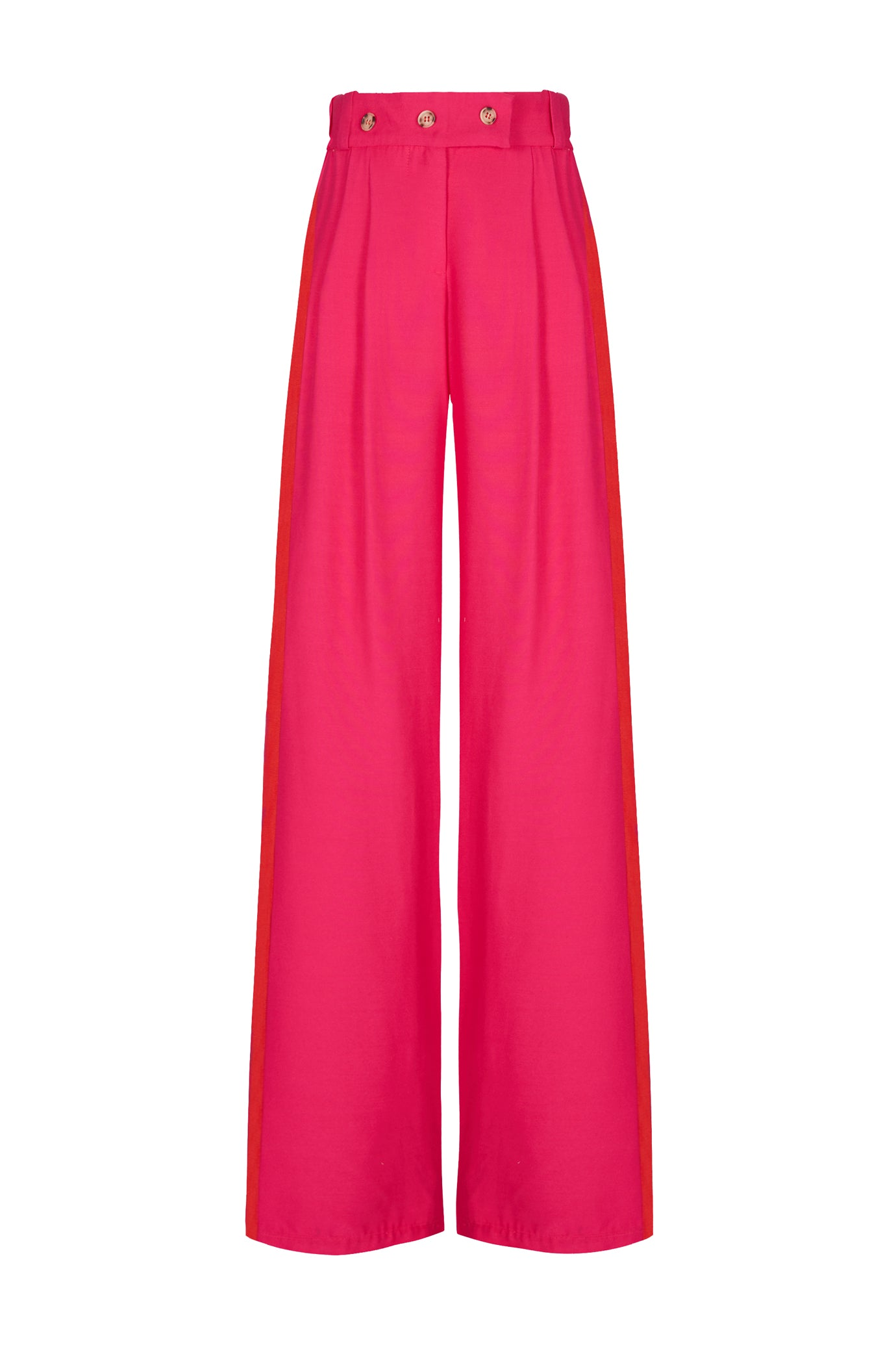 The Boyfriend Trouser - Hot Pink & Red Viscose