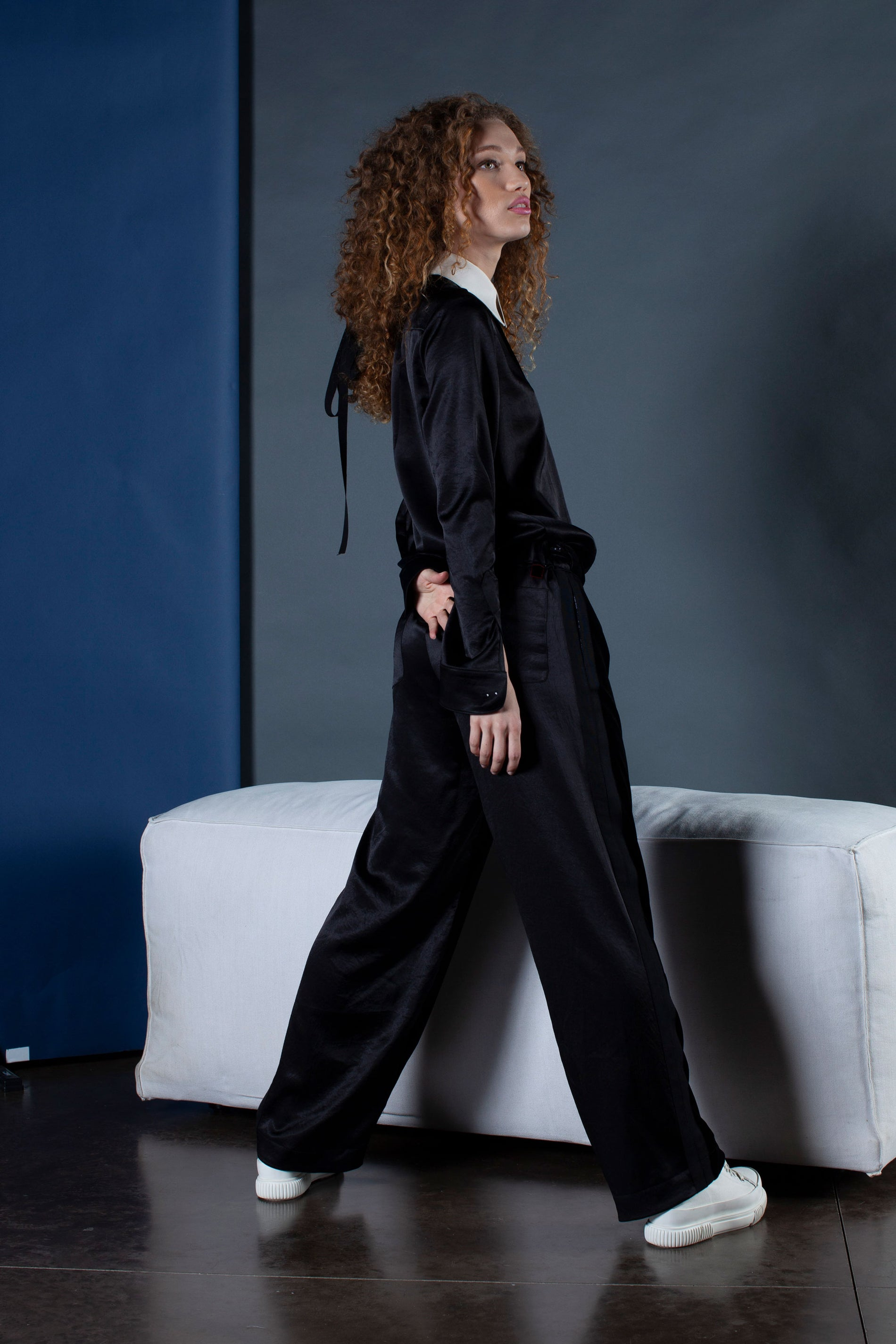 The Boyfriend Trouser - Black Velvet & Natural Fabric