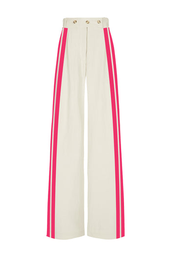 The Boyfriend Trouser - Stone & Hot Pink Natural Fabric