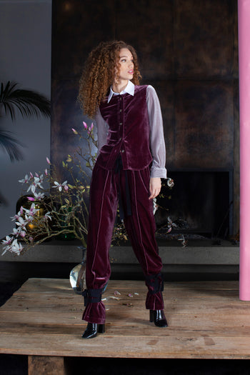 Serena fitted shirt velvet burgandy