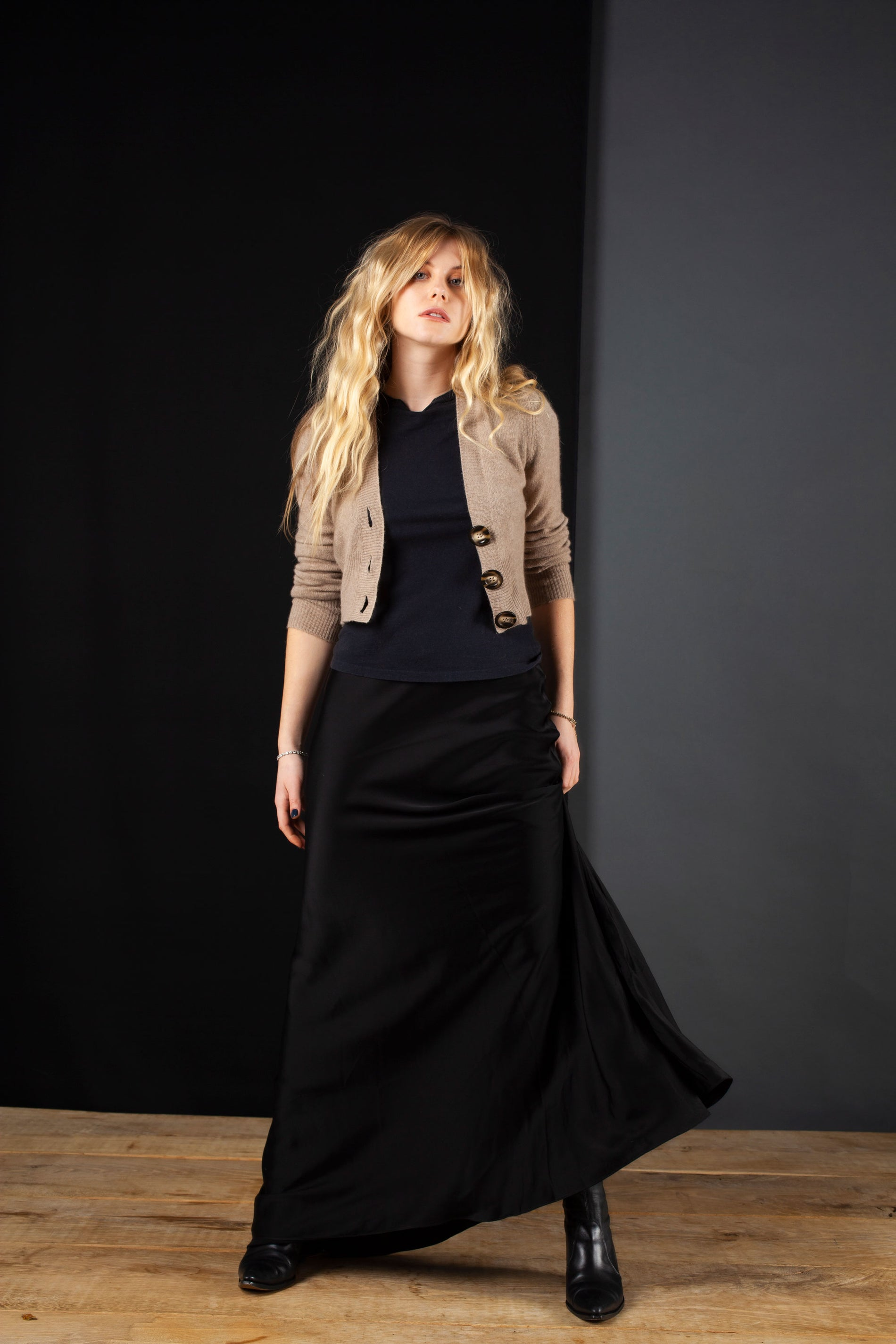 Maxi Skirt - Black Viscose