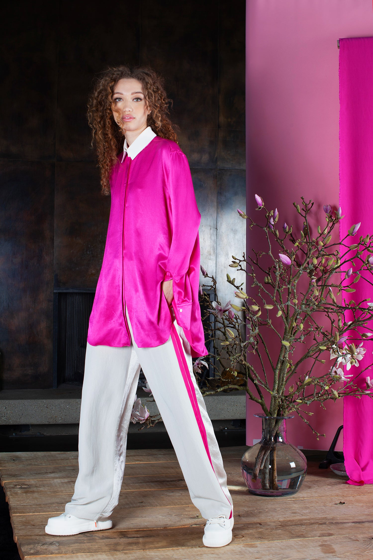 Peggy oversized shirt pink white viscose Serena Bute