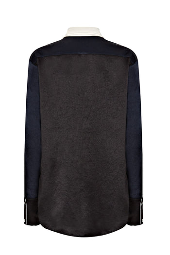 Pocket oversized shirt black navy natural fabric Serena Bute