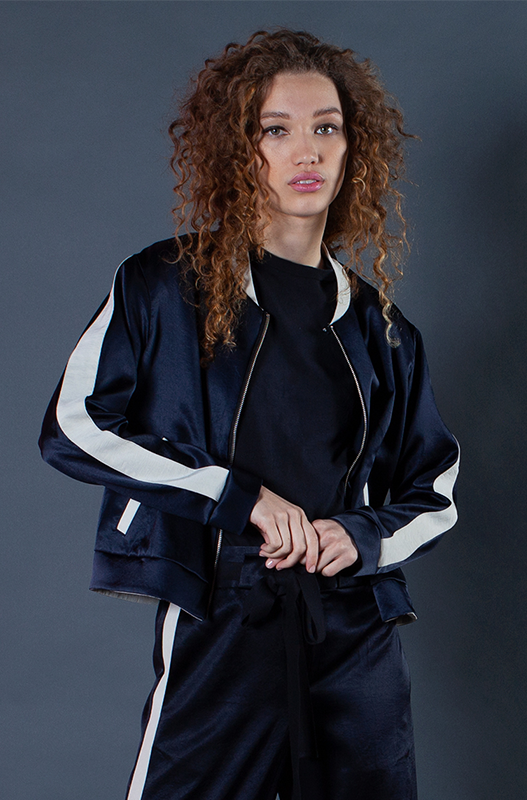 The Reversible Cropped Bomber - Navy and Stone Natural Fabric