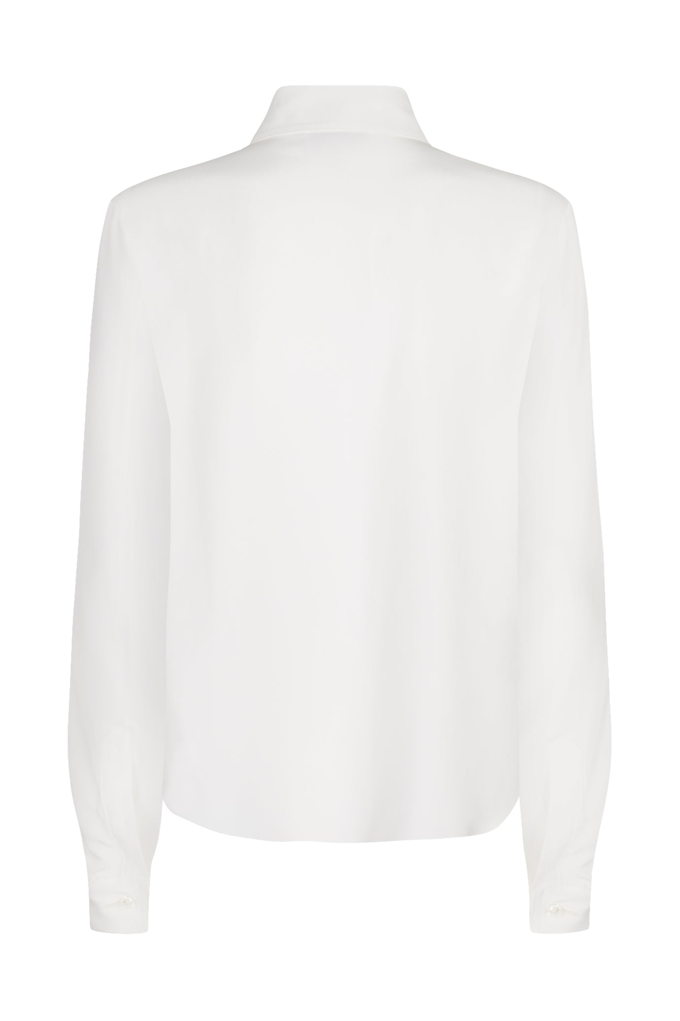 The Serena Fitted Shirt - White Sandwashed Silk
