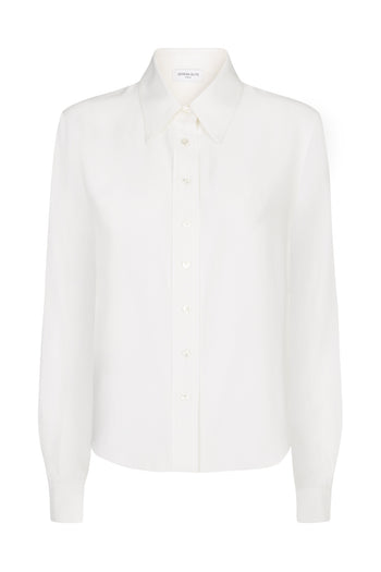 Serena fitted shirt white sandwashed silk Serena Bute