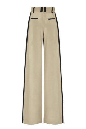 The Serena Wide Leg Trouser - Hemp & Black Silk