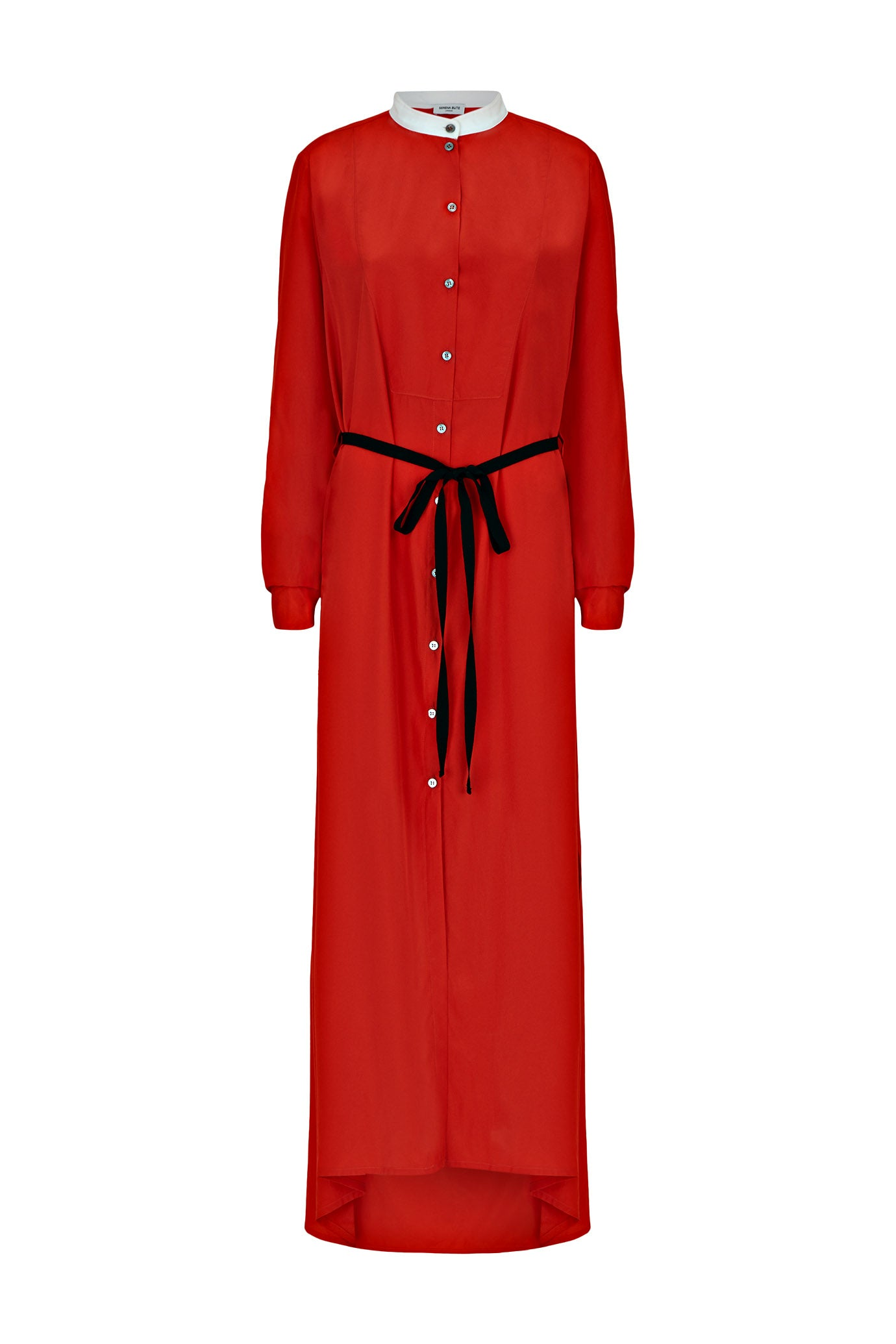 shirt dress red crepe de chine viscose serena bute