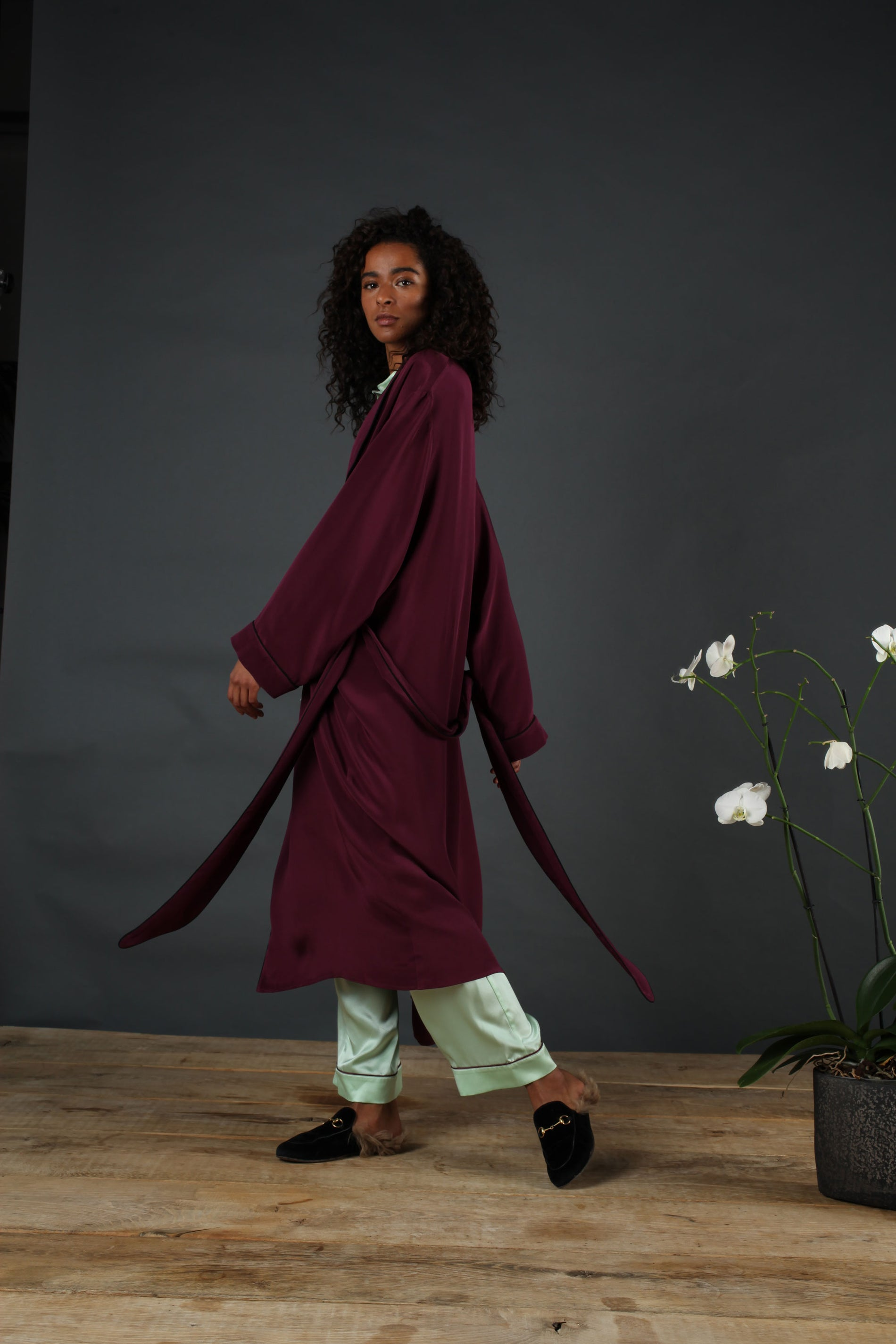 silk dressing gown burgundy serena bute