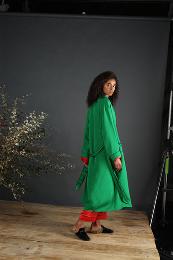 silk dressing gown emerald serena bute