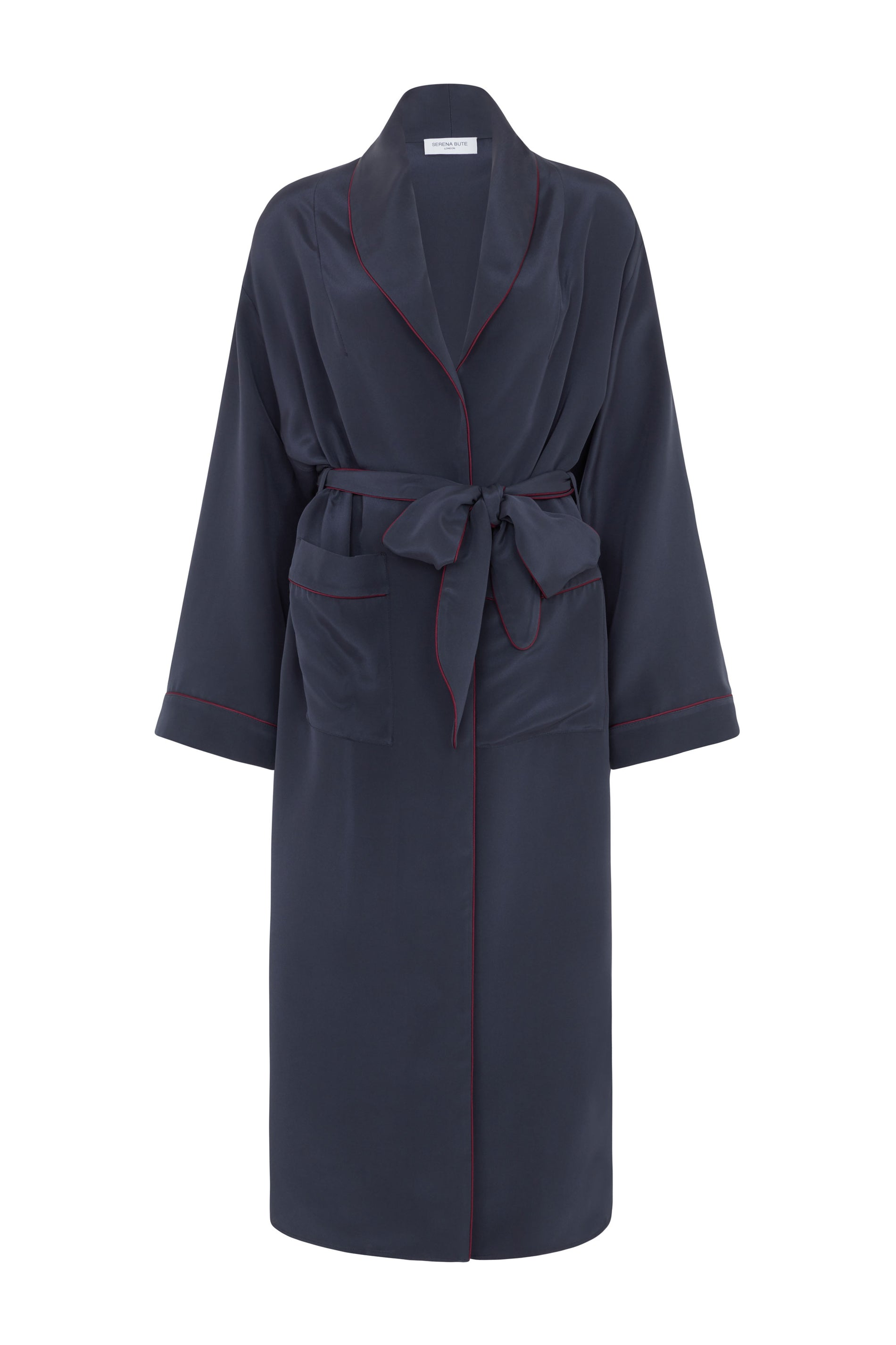 silk dressing gown navy serena bute
