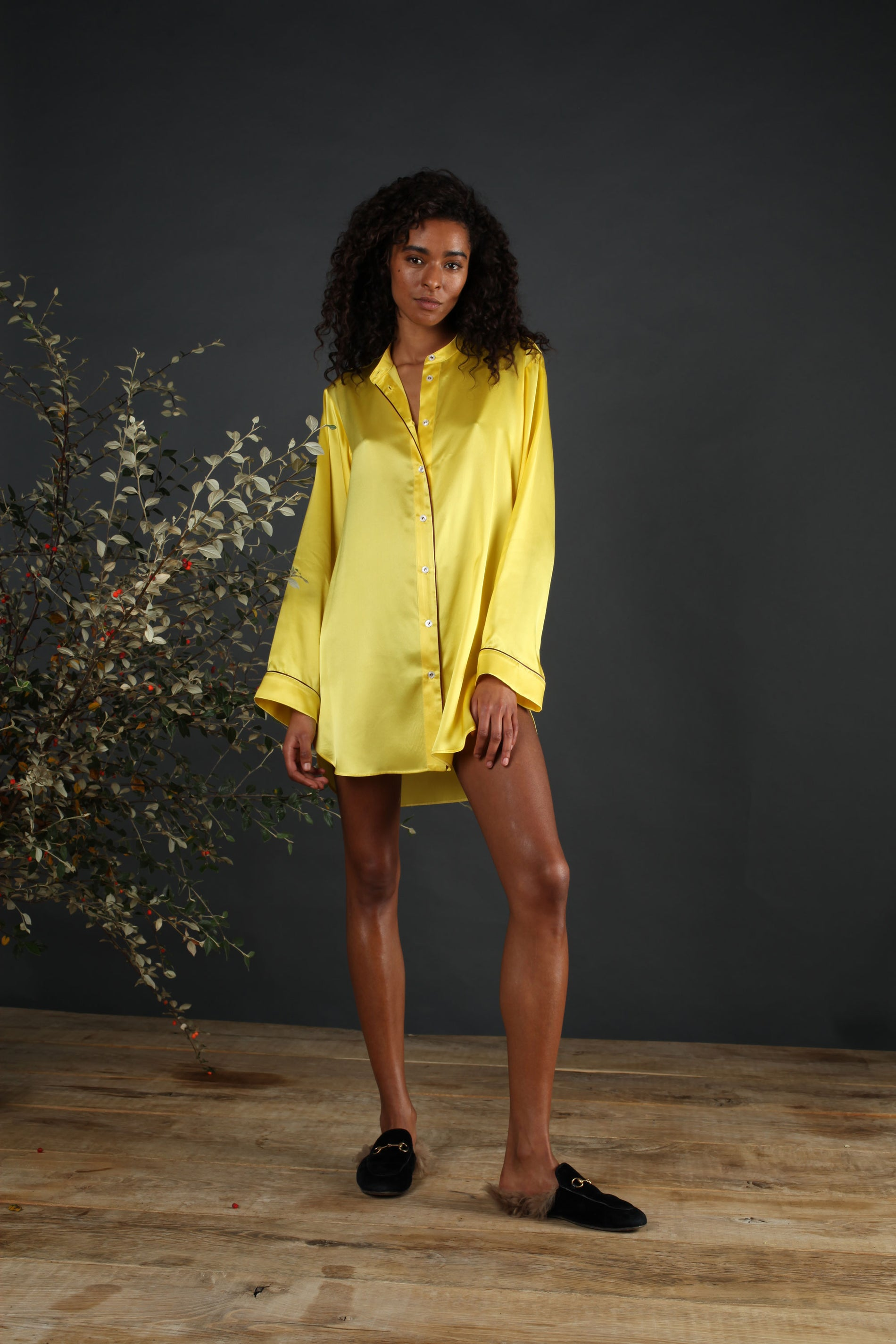 silk nightshirt yellow serena bute