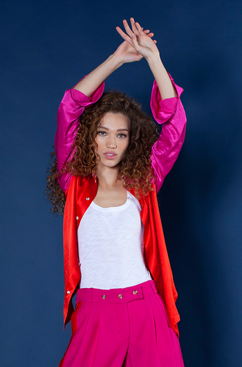 The Slim Shirt - Red and Hot Pink Viscose