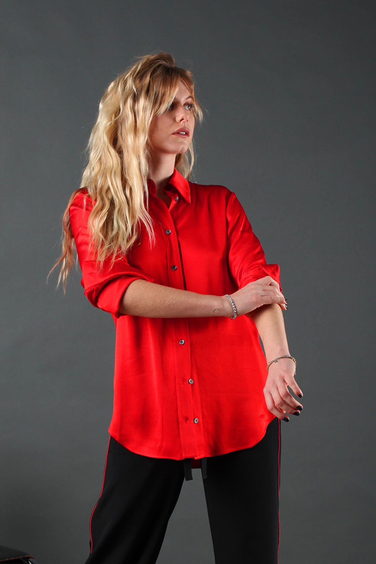 The Slim Shirt - Red Viscose