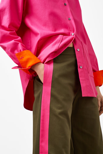 The Flat Front Trouser - Khaki & Pink Cotton - SERENA BUTE