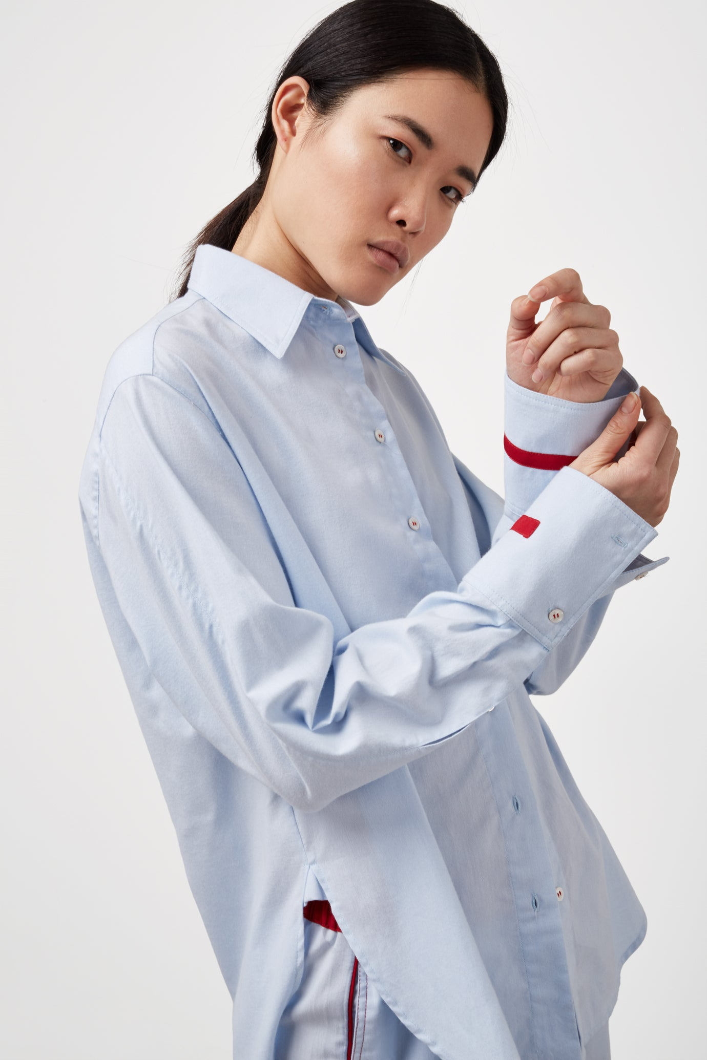 The Oversized Shirt - Sky Blue & Red Cotton - SERENA BUTE