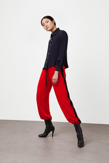 The Classic Jogger Gathered - Poppy Red, Black & Navy Silk