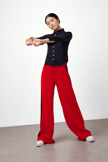 The Serena Trouser - Poppy Red & Navy Silk - SERENA BUTE