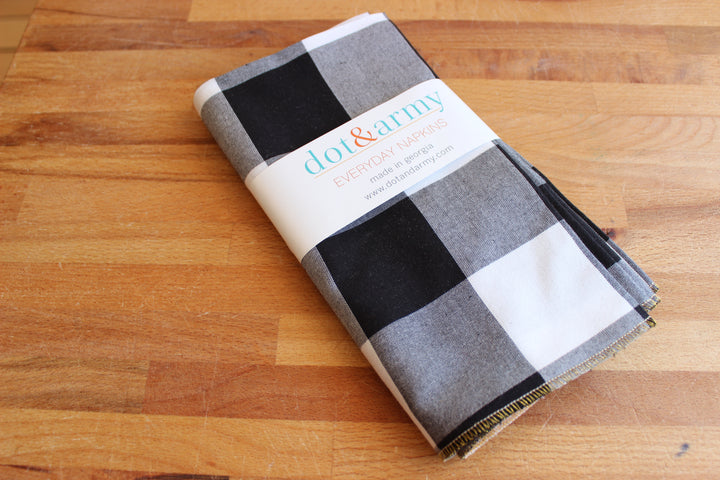 Dot + Army Napkins - Buffalo Check