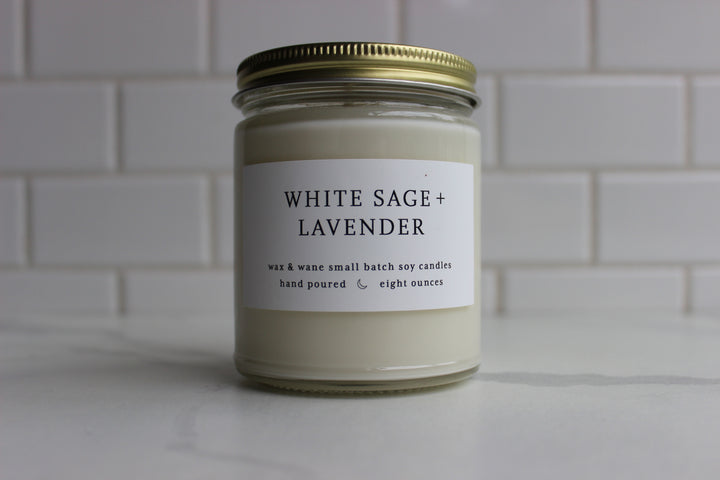 Wax & Wane Candle - White Sage and Lavender