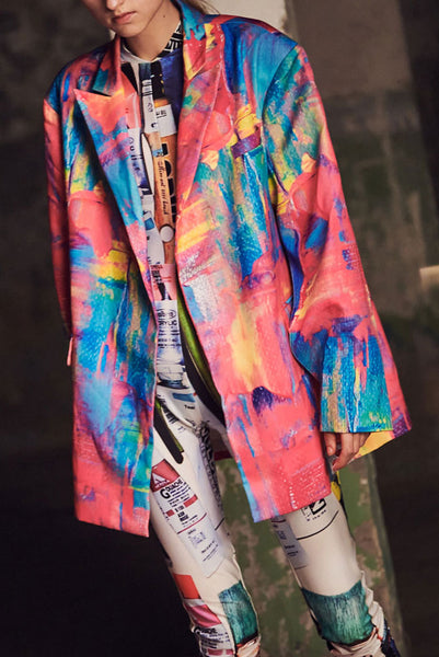 """The Painters"" Collection- Artistic Brushes Printed Over Sized Blazer"