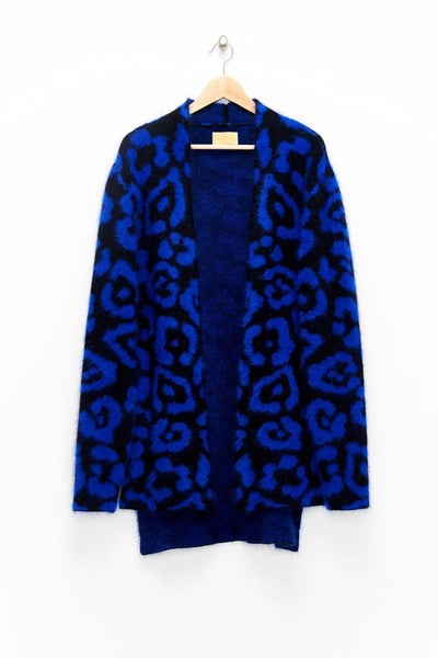 Slade Collection- Angora Hair Leopard Graphic Jacquard Knitted Cardigan