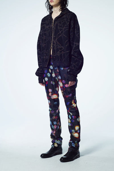 Slade Collection- Hand Writing Star Graphic Knitted Jacquard Over Sized Hoodie Coat