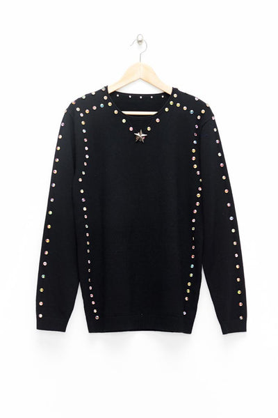 Slade Collection- Diamond Rivet Detailed Knitted Top - Johan Ku Shop