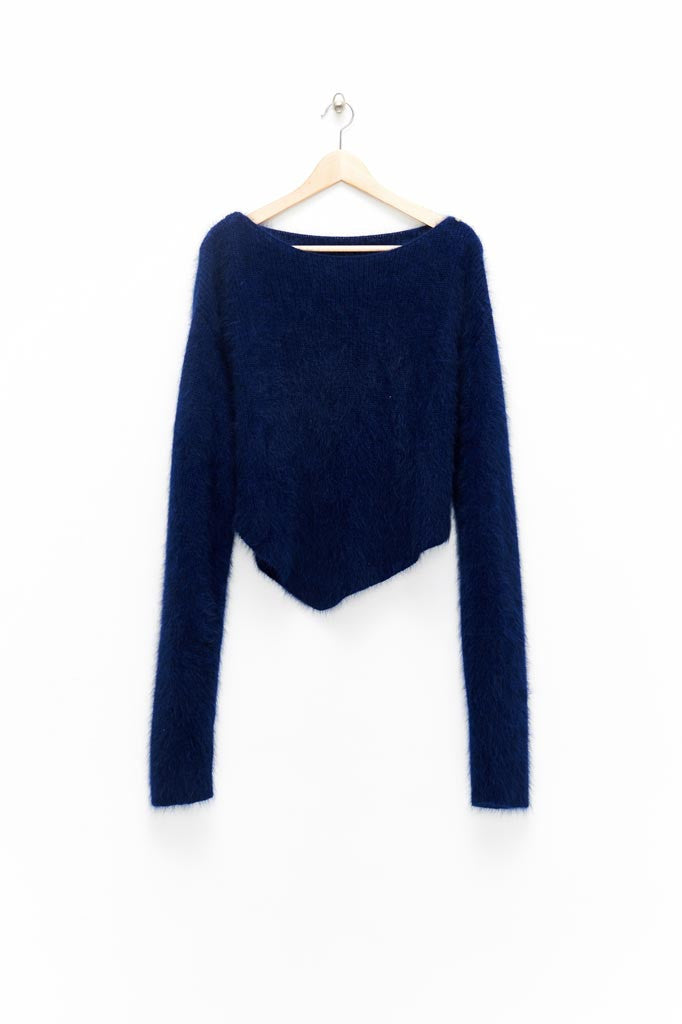 Slade Collection- Diamond Rivet Detailed Knitted Angora Yarn Asymmetry Top