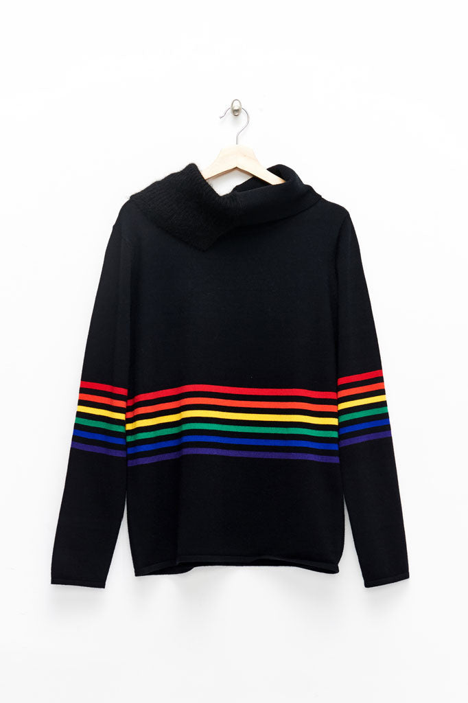 Slade Collection- Rainbow Colour Stripes Knitted Asymmetry Hign Neck Top