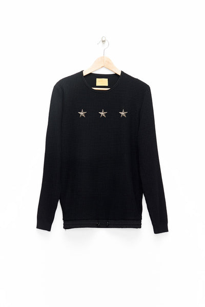 Slade Collection- Star Rivet Details Round Collar Top