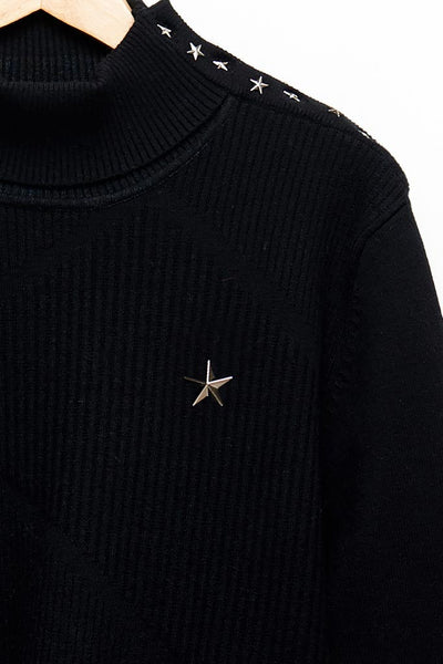 Slade Collection- Star Rivet Details High Collar Top