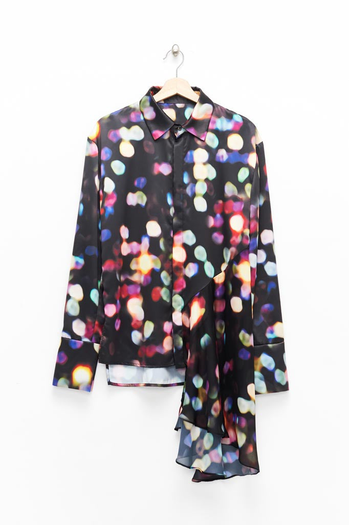Slade Collection- Velvet Goldmine Inspired Asymmetry Printed Dots Shirt