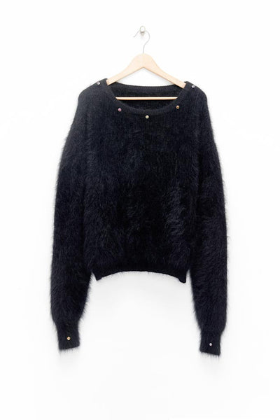 Slade Collection- Diamond Rivet Detailed Knitted Angora Yarn Over Sized Top - Johan Ku Shop