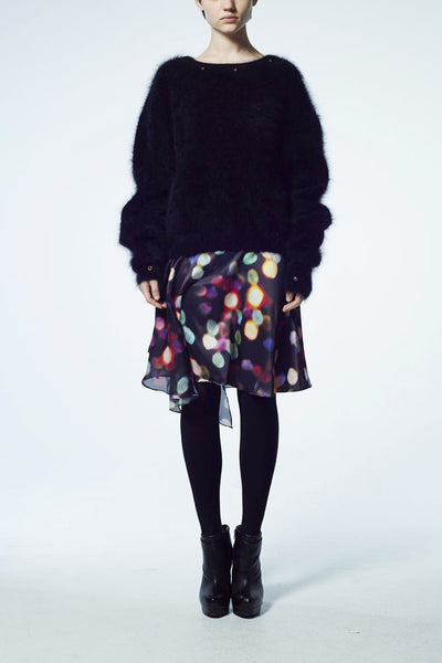 Slade Collection- Velvet Goldmine Inspired Asymmetry Printed Dots Skirt - Johan Ku Shop