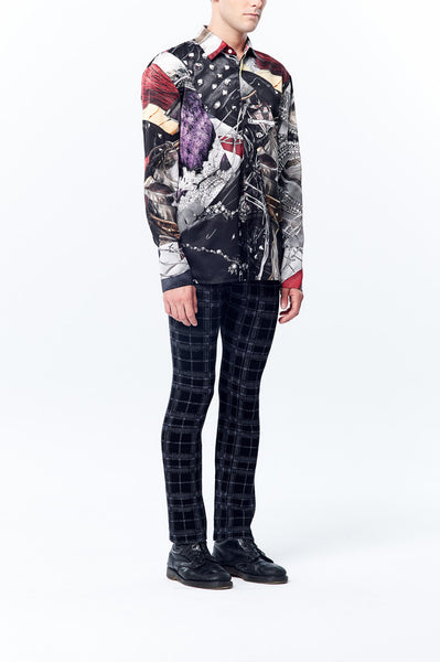 British Punk Prints Satin Shirt with Front Patchwork Details