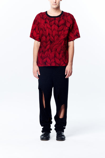 Oversize Johan Ku Signature Cable Pattern Knitted Jacquard Short Sleeve Top