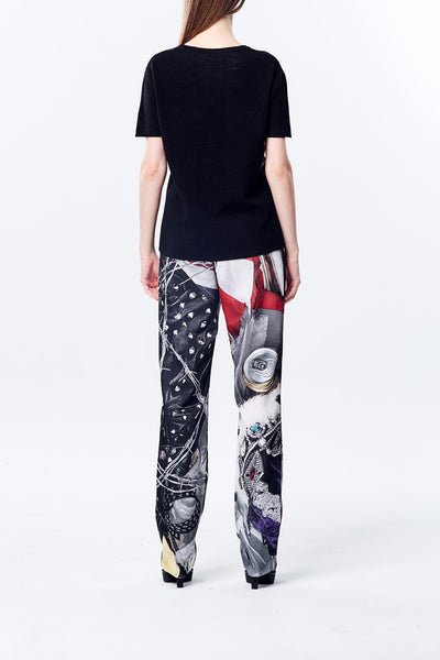 British Punk Printed Straight Trouser