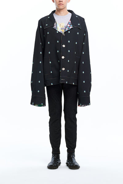 Andy Collection- Over-sized Graphic Dots Coat