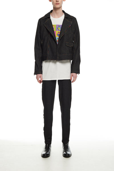 Andy Collection- Rainbow Detailed Biker Jacket