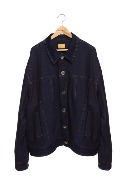 Andy Collection- Rainbow Detailed Over-sized Jeans Jacket-Deep Blue