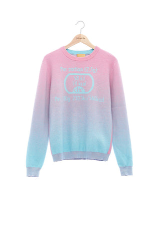 Andy Collection- Calories Graphic Knitted Jacquard Round Neck Top - Pink/Blue - Johan Ku Shop