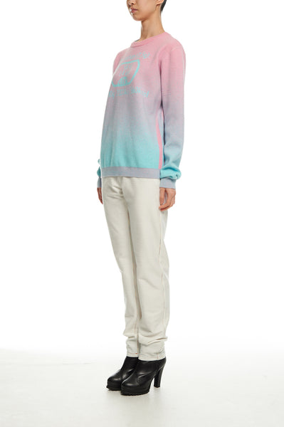 Andy Collection- Calories Graphic Knitted Jacquard Round Neck Top - Pink/Blue