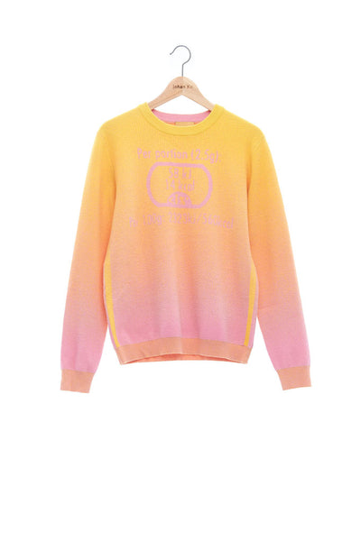 Andy Collection- Calories Graphic Knitted Jacquard Round Neck Top- Yellow/Pink - Johan Ku Shop