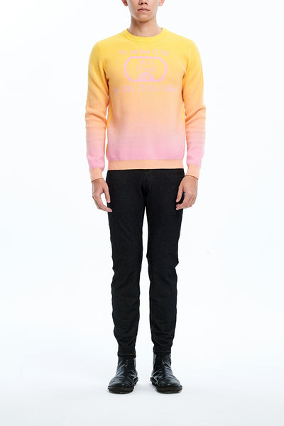 Andy Collection- Calories Graphic Knitted Jacquard Round Neck Top- Yellow/Pink