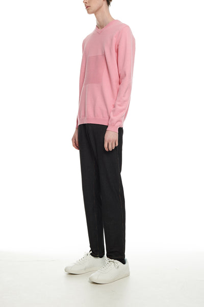 Andy Collection- 2.5D Square Detail Knitted V Neck Top- Pink
